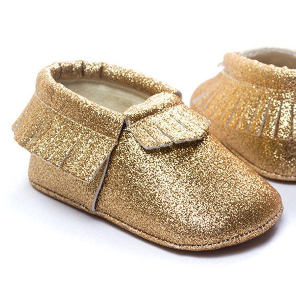3090175ba7534 🇺🇸4th of July Gold Glitter Soft Sole Baby Moccs Boutique